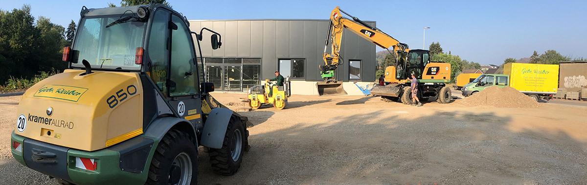 Tiefbau und Straßenbau Scenario mit Baustellenfahrzeugen